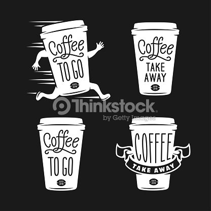 Coffee to go emblems set. Take away coffee labels. Vector vintage illustration. : stock vector
