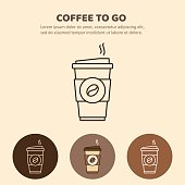 Coffee to go icon. Paper coffee cup icon for web and graphic design.  Hot drink. Vector illustration.