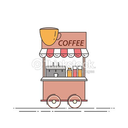 Coffee truck. Cart on wheels. Food and drink kiosk . Vector illustration. Flat line art.