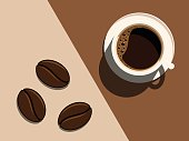 Cup of coffee and coffee beans. Vector illustration.