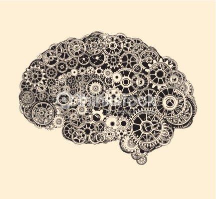 Zahnräder In Der Form Eines Menschlichen Gehirns Vektorgrafik ...