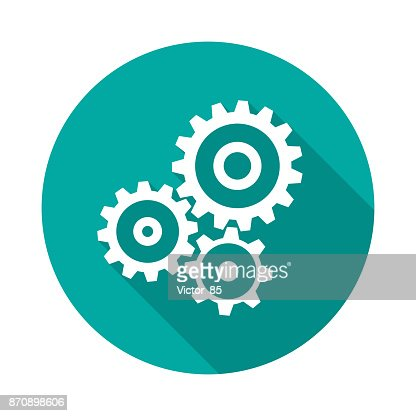 Cogwheel gear circle icon with long shadow. Flat design style. : stock vector