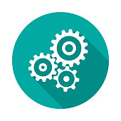 Cogwheel gear circle icon with long shadow. Flat design style. Mechanism simple silhouette. Modern, minimalist, round icon in stylish colors. Web site page and mobile app design vector element.