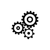 Cogwheel gear mechanism icon. Black, minimalist icon isolated on white background. Mechanism simple silhouette. Web site page and mobile app design vector element.