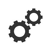 Cogwheels black icon on white