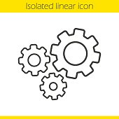 Cogwheels linear icon. Gears. Thin line. Vector