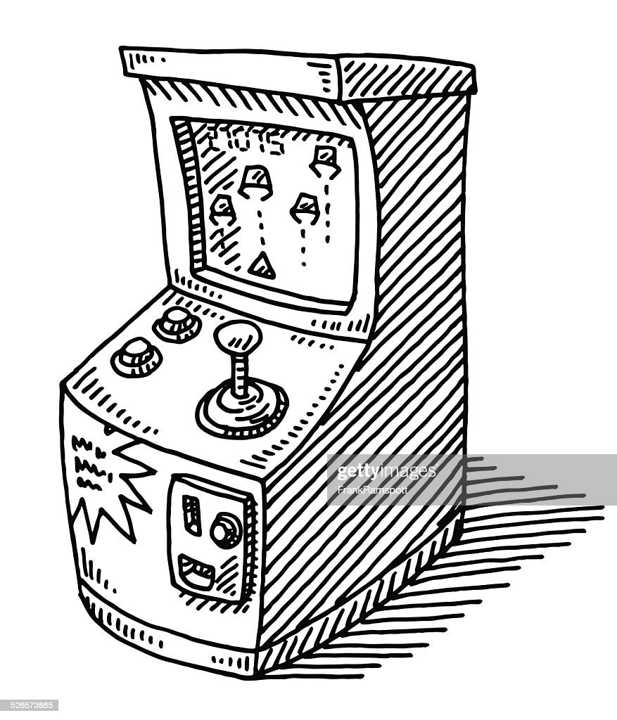 coin operated arcade video game drawing vector art getty