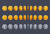 Coin rotate set for animation. CArtoon style vector illustration for game design.