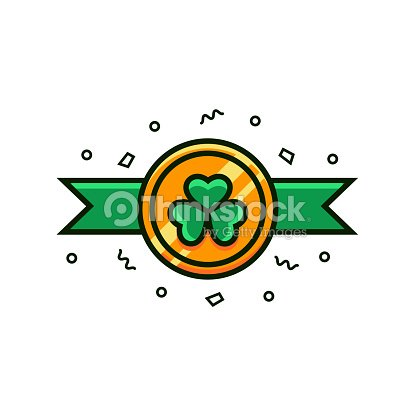 Coin With Shamrock Symbol And Green Festive Ribbons Flat Color Line