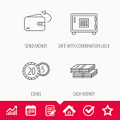 Coins, cash money and wallet icons. Safe box, send money linear signs. Edit document, Calendar and Graph chart signs. Star, Check and House web icons. Vector