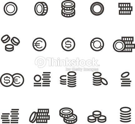 Münzen Linie Symbole Geld Steuern Verdienen Und Bargeld