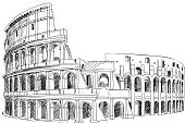 Colosseum  Vector Hand-drawn Sketch Illustration isolated on white background.