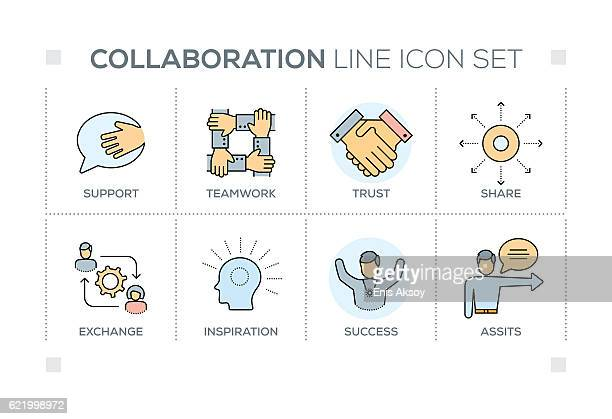 Collaboration keywords with line icons