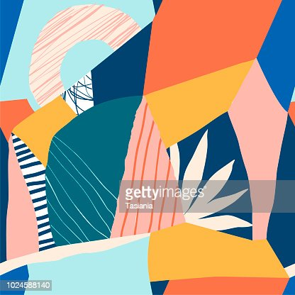Collage contemporary floral seamless pattern : stock vector