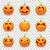 Big collection Halloween pumpkin Jack O'Lantern, on transparent background, vector illustration
