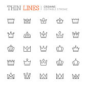 Collection crowns related line icons. Editable stroke
