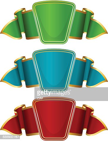 Collection frame with ribbon in 3 color : Vector Art