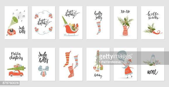 Sammlung-Frohe Weihnachten-Geschenk-Karten : Vektorgrafik