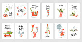Collection of 12 Merry Christmas and Happy New Year gift cards. Set of hand drawn holiday template for New 2018 Year Cards and Merry Christmas posters