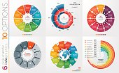 Collection of 6 vector circle chart templates for infographics with 10 options.