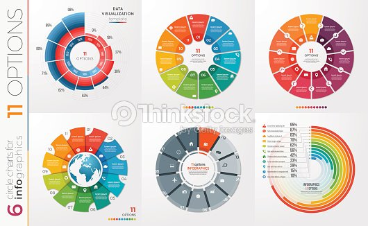 Collection of 6 vector circle chart templates 11 options arte collection of 6 vector circle chart templates 11 options arte vetorial ccuart Images