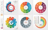 Collection of 6 vector circle chart templates for infographics with 11 options.