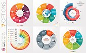 Collection of 6 vector circle chart templates for infographics with 7 options.