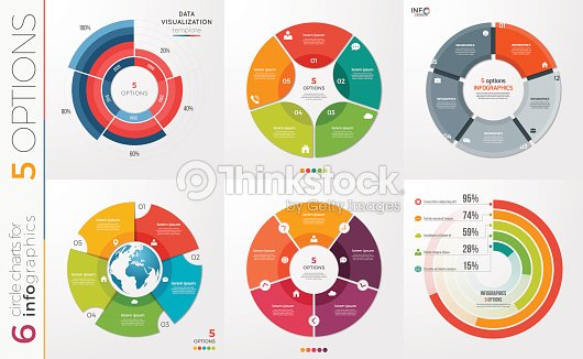 Collection of 6 vector circle chart templates for infographics with 5 options. : stock vector