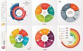 Collection of 6 vector circle chart templates for infographics with 5 options.