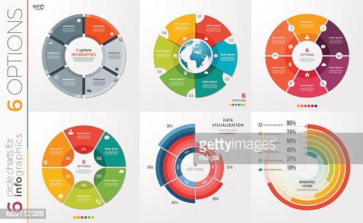 Collection of 6 vector circle chart templates for infographics with 6 options. : stock vector