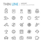 Collection of airport thin line icons. Vector eps 8