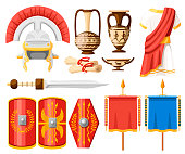 Collection of ancient Roman icons. Clothes, gladius, scutum, scrolls and ceramic tableware. Flat vector illustrator isolated on white background.