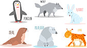 Collection of Arctic animals with names, penguin, wolf, rabbit, seal, polar bear, lynx vector Illustration isolated on a white background.