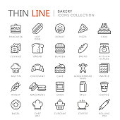 Collection of bakery thin line icons. Vector eps 10
