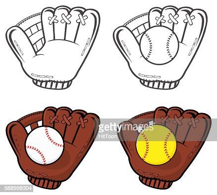 Collection of Baseball Glove With Softball : stock vector