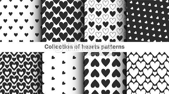 Collection De Coeurs Noir Et Blanc Motifensemble Dhorizons