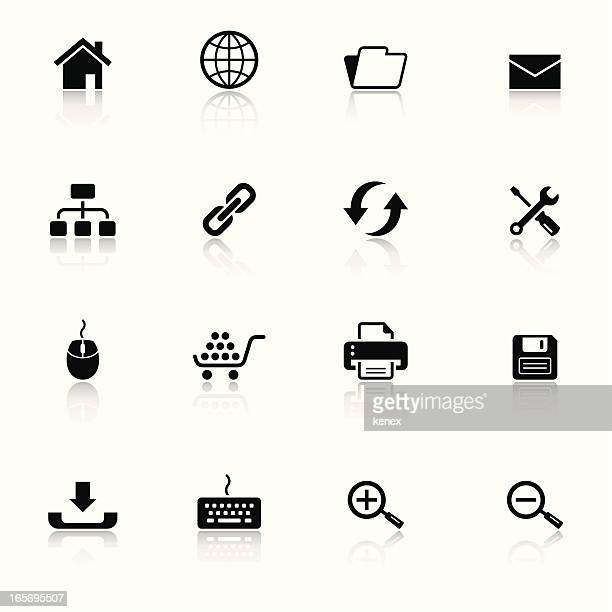 Collection of black and white web browser icons