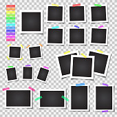 Collection of blank photo frames with shadow. Big set. Different colorful tapes. Vector illustration on transparent background.