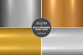Collection of bright brushed metallic textures. Shiny polished metal backgrounds.