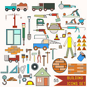 Collection of building icons. 55 elements for design