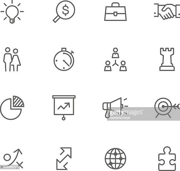 Collection of business strategy black line icons