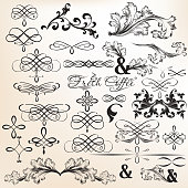 Collection of calligraphic vector decorative elements in vintage style