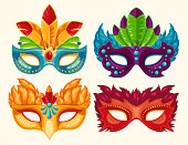 Collection of cartoon illustrations of venetian painted carnival facial masks for a party decorated with feathers and rhinestones isolated on a light background