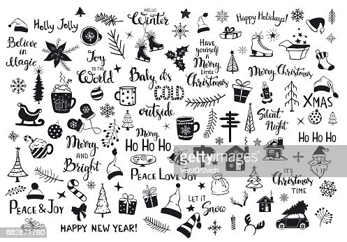 collection of christmas new years decoration items silhouettes and outlined doodles, xmas trees, santa hats, gift box, snowflakes, twigs, branches, house, car, mug, skates and hand lettered quotes : Arte vettoriale
