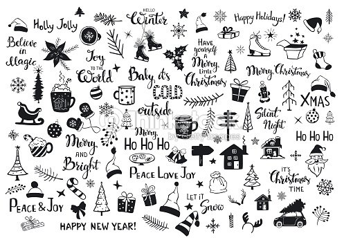 collection of christmas new years decoration items silhouettes and outlined doodles, xmas trees, santa hats, gift box, snowflakes, twigs, branches, house, car, mug, skates and hand lettered quotes : stock vector