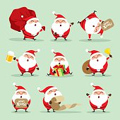 A variety of Santa Claus for Christmas design.