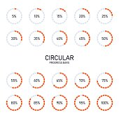 Collection of circular futuristic progress loading bar and buffering percentage isolated on white background, vector illustration