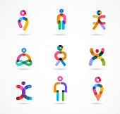 Collection of colorful abstract vector people  - elements, icons and symbols