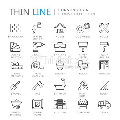 Collection of construction thin line icons : stock vector