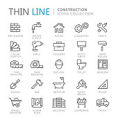 Collection of construction thin line icons. Vector eps10